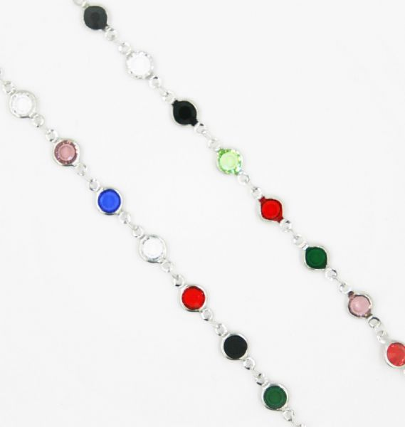 Silver necklace with multicolour crystal 40 inch/100cm